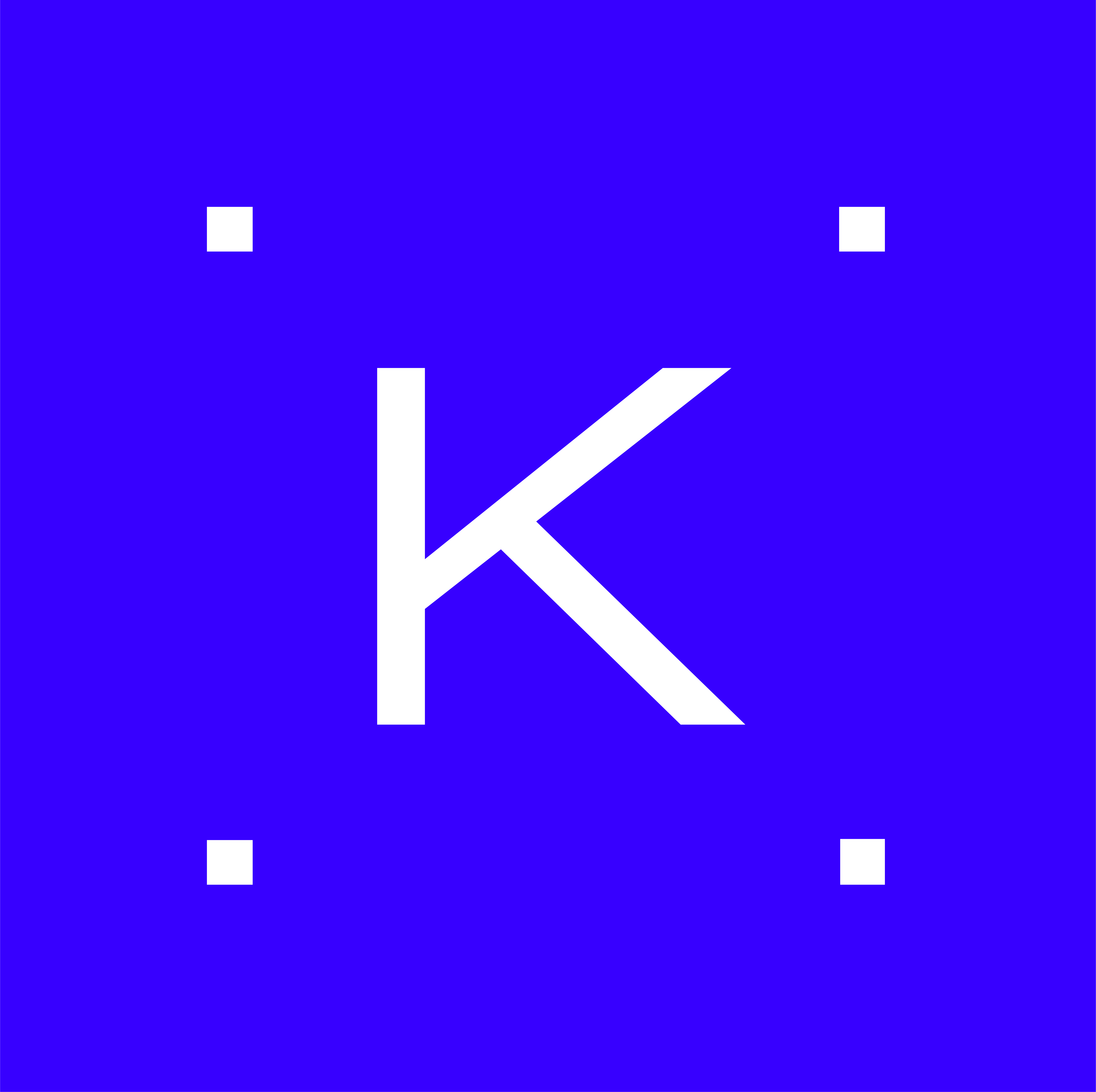 Logo with stylized K in middle and rectangles forming a field