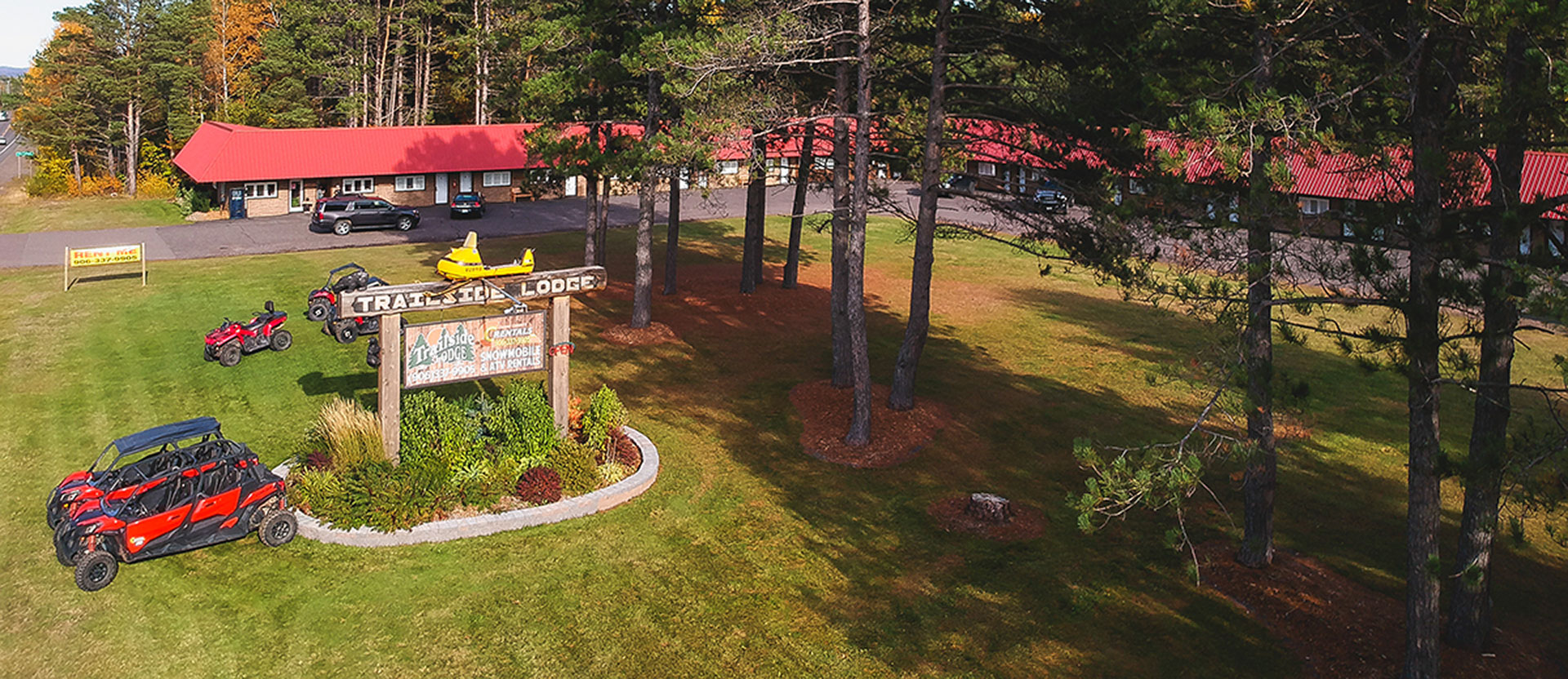 aerial view od trailside lodge and copper country rentals calumet michigan