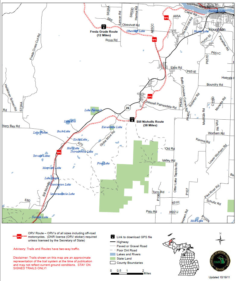 a map of the Bill Nichols Route North trail