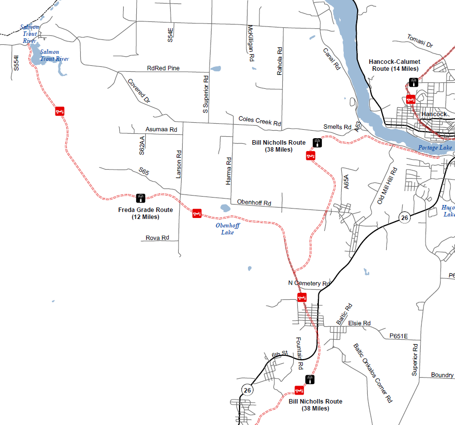 a map of the Freda Grade route