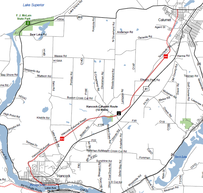a map of the Hancock smowmobile trail