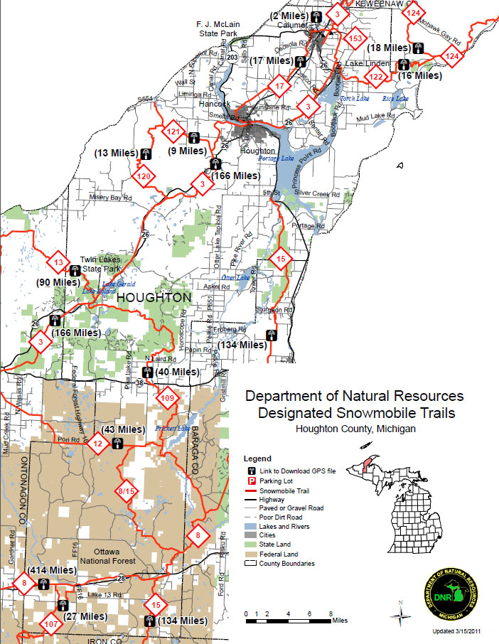 a map of the Houghton snowmobile trail