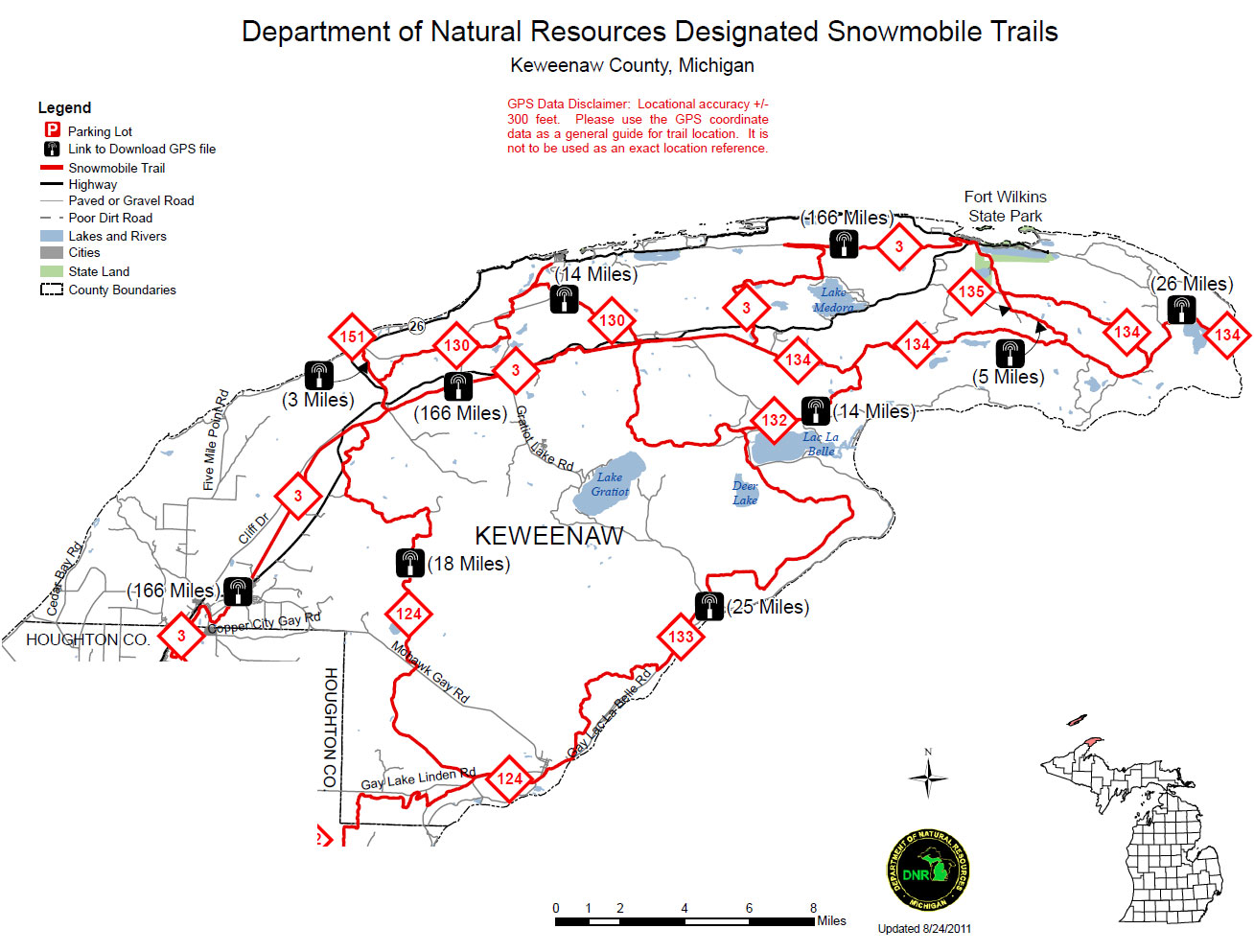 a map of the Keweenaw snowmobile trail