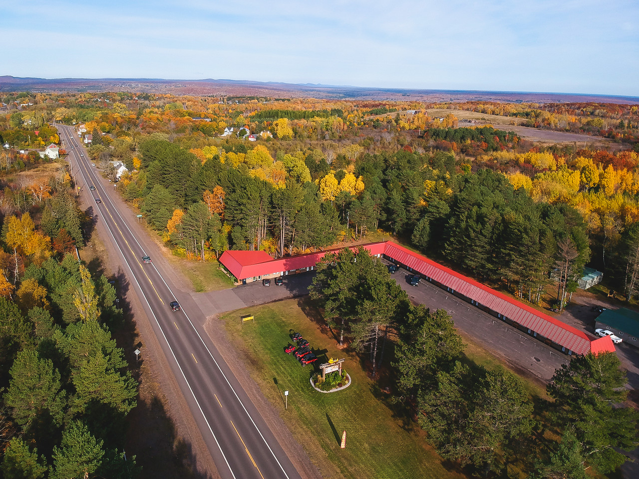 trailside lodge and copper country rentals in calumet michigan aerial panoramic view