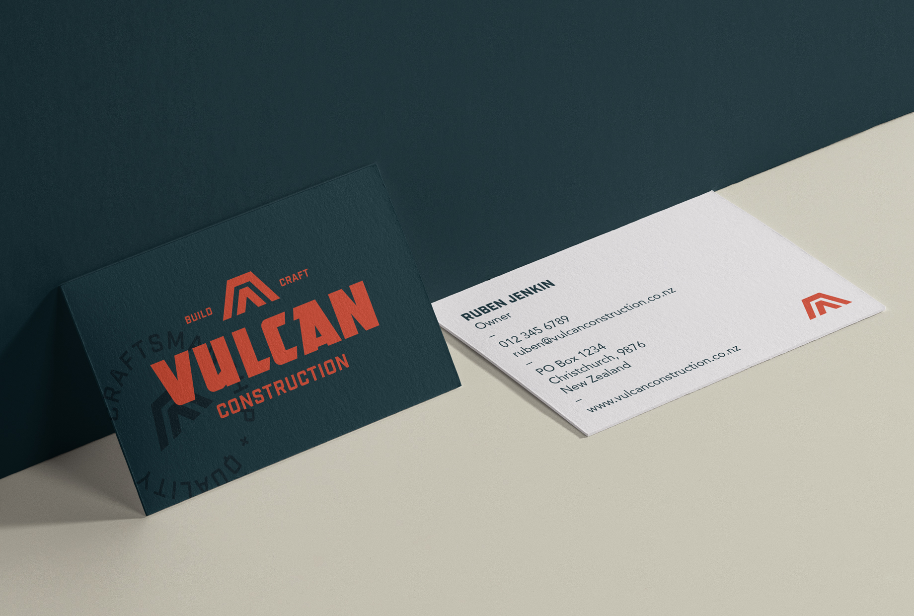 Business cards for a building company