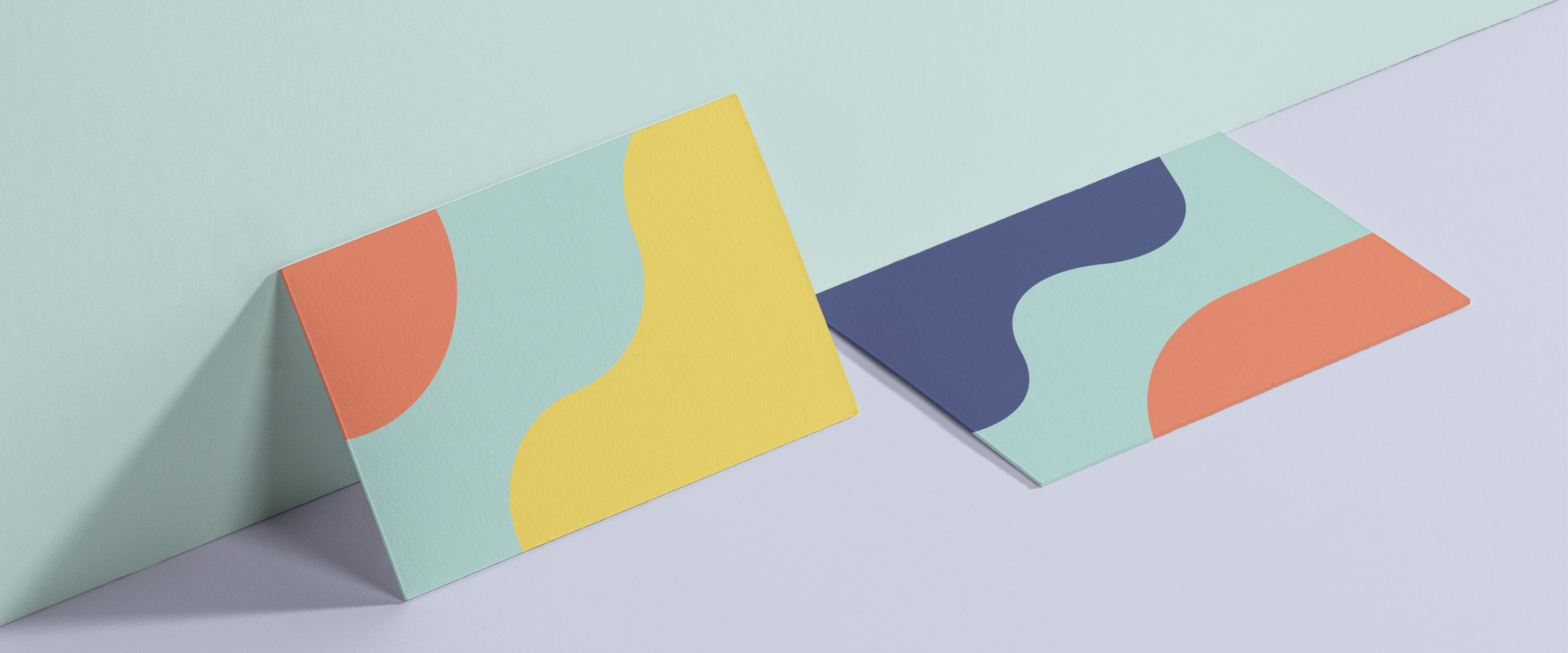 business cards with colourful abstract shapes