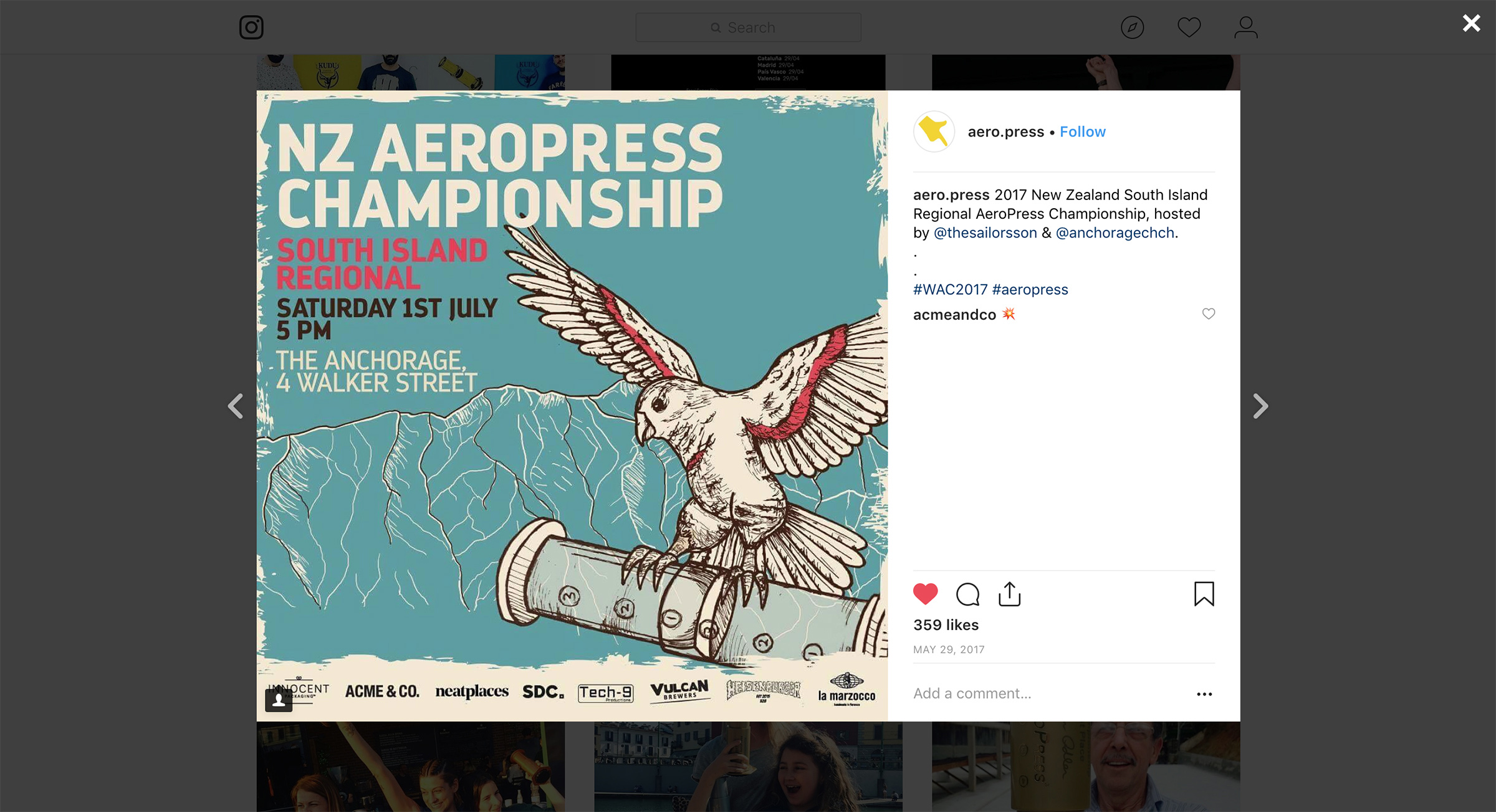 Instagram post for Aeropress competition
