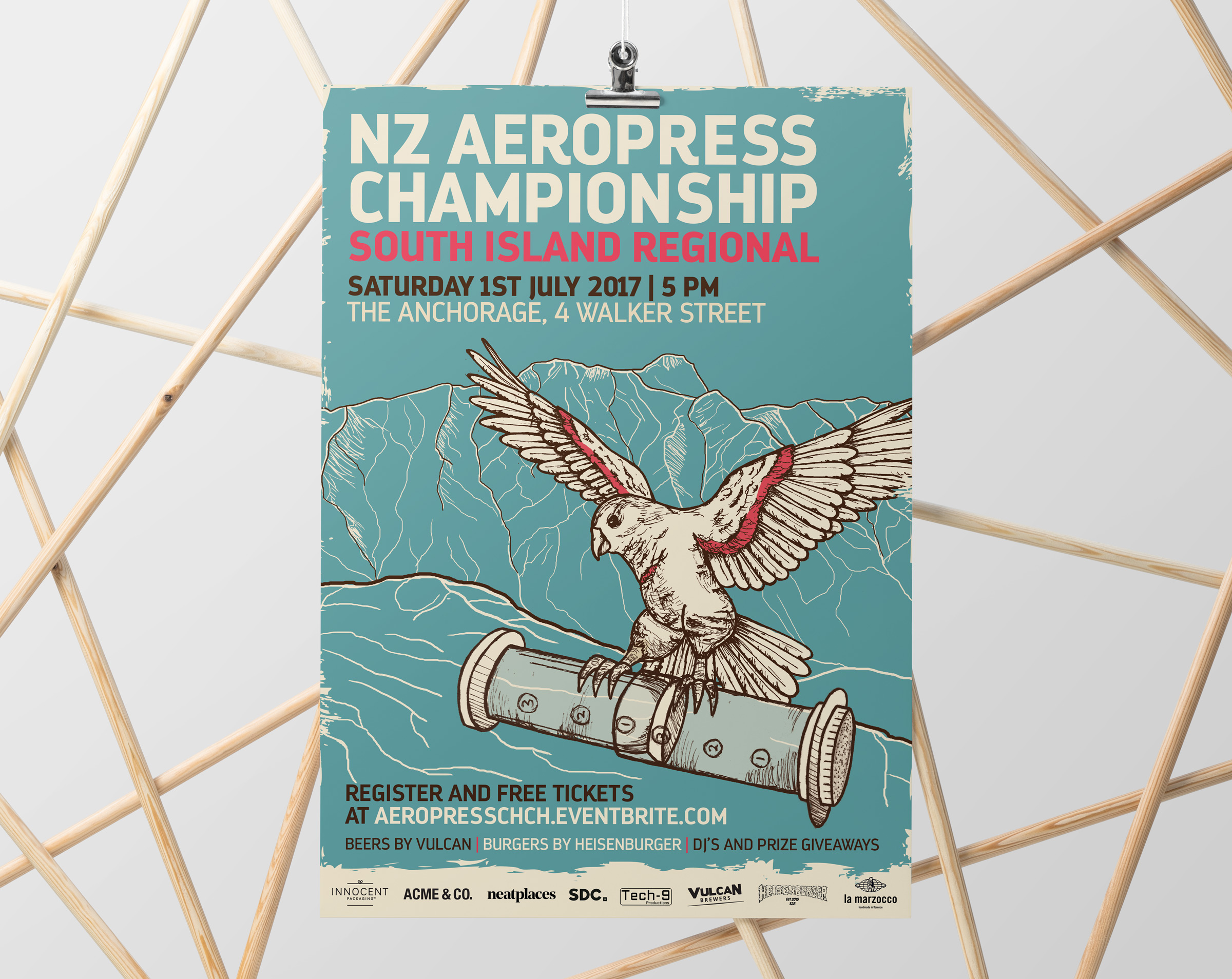 Poster for the South Island World Aeropress qualifiers