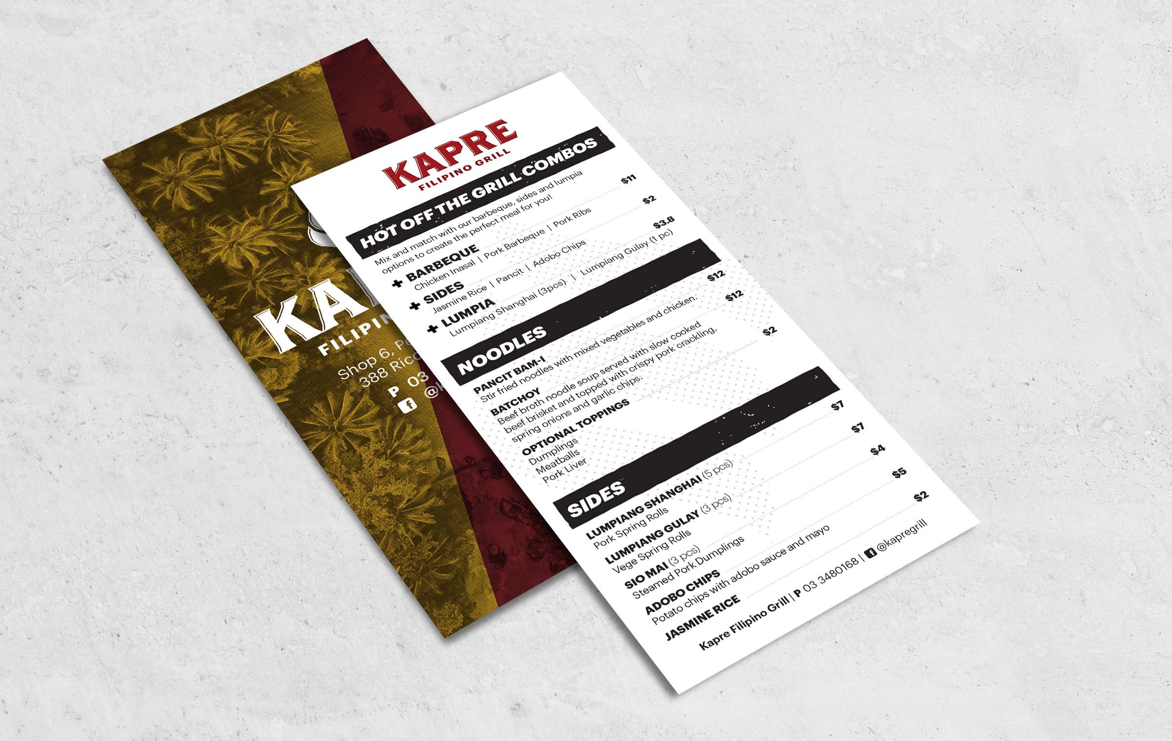 Filipino restaurant menu leaflet