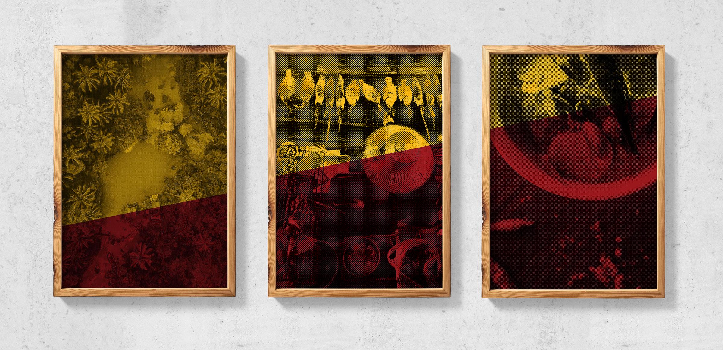 Halftone vietnamese images in wooden frames