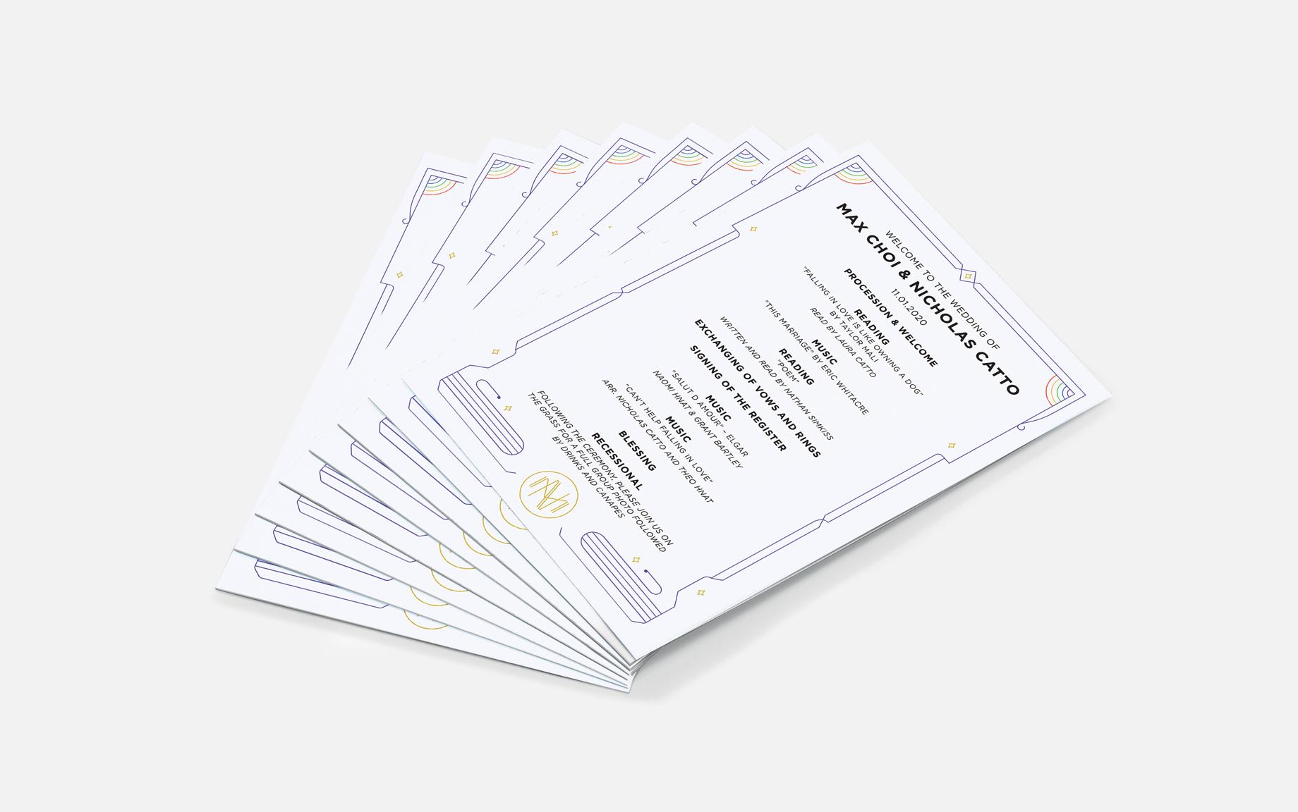 Modern illustrated wedding order of service