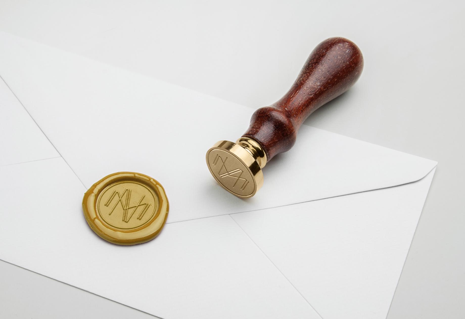 Custom gold wax monogram stamp