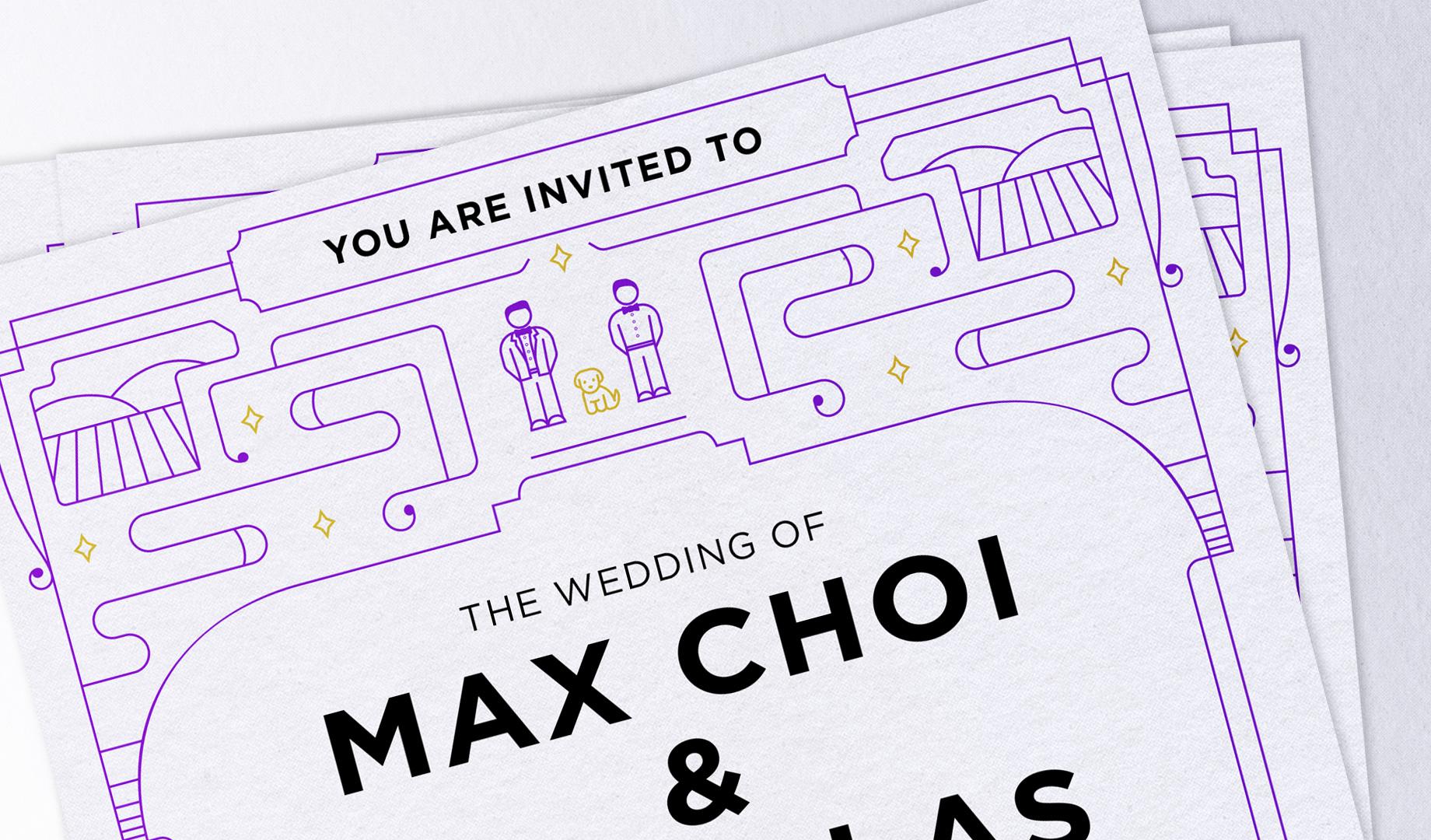 Modern illustrated wedding invite