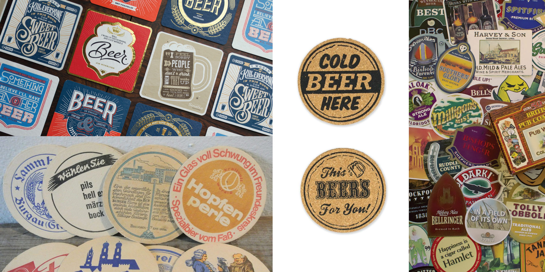 Collage of beer coasters