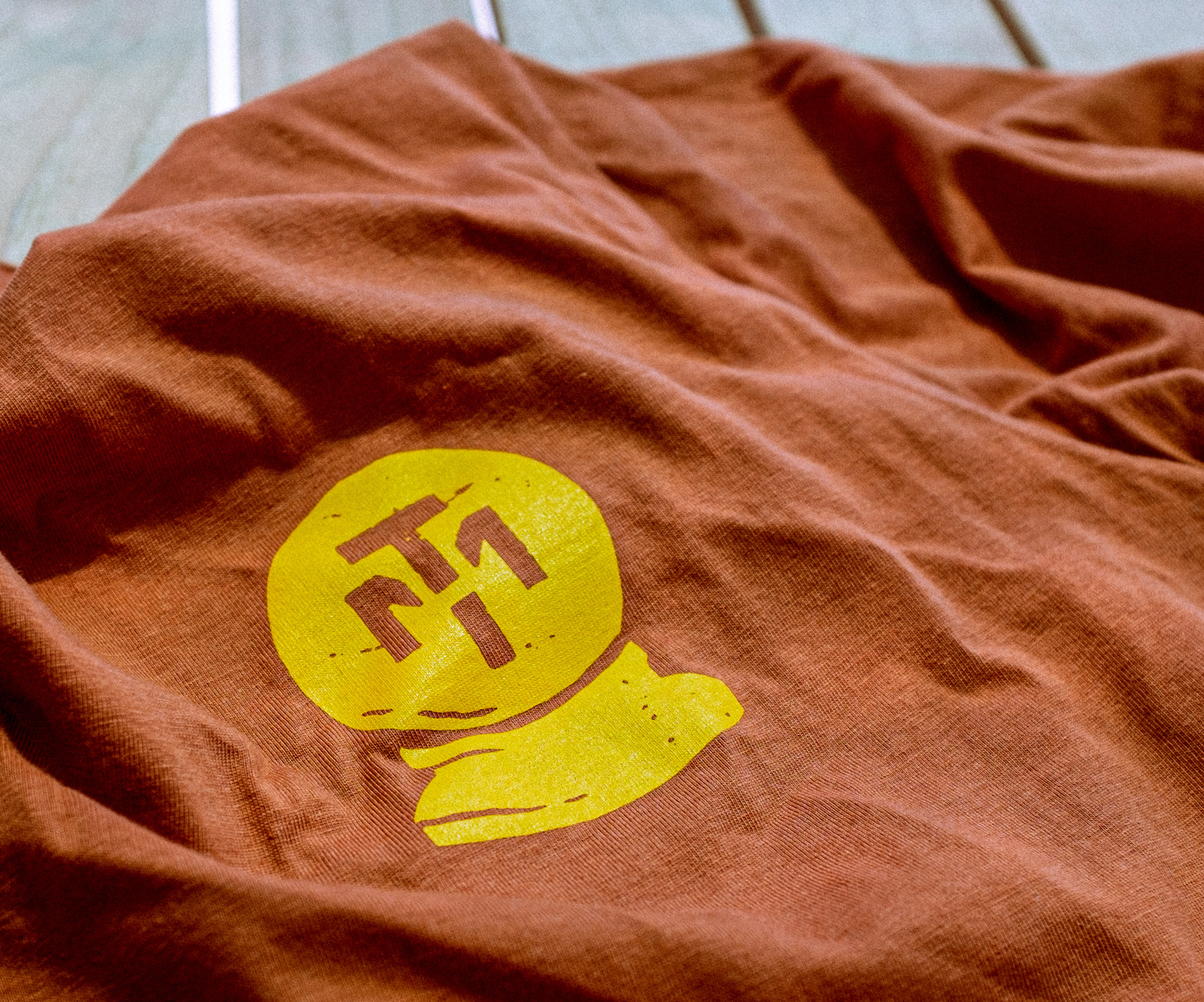 Tshirt with screen printed logo on it