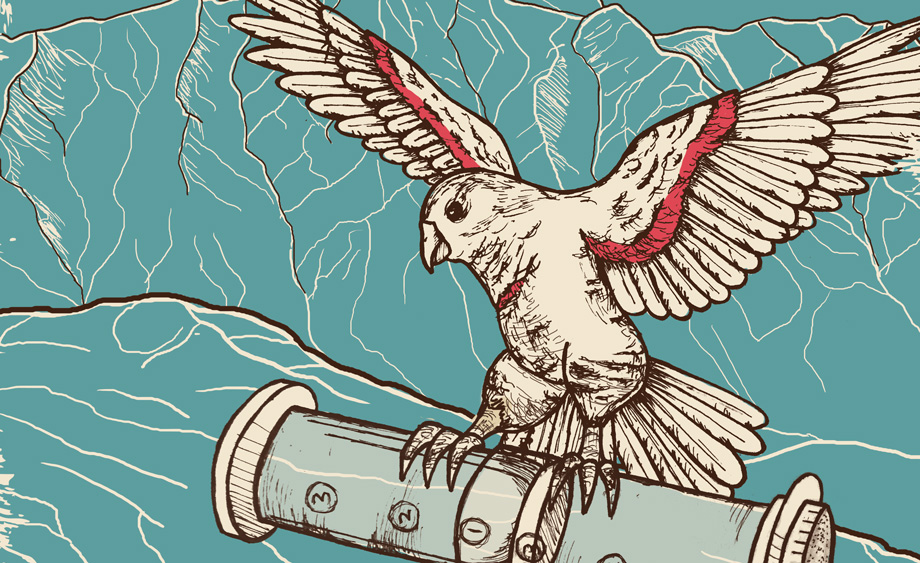 Illustration of a kea holding an aeropress