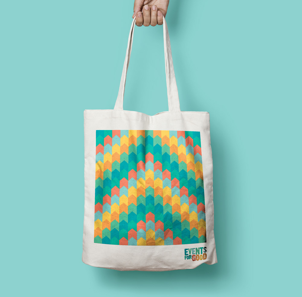 Tote bag with a colourful pattern on it