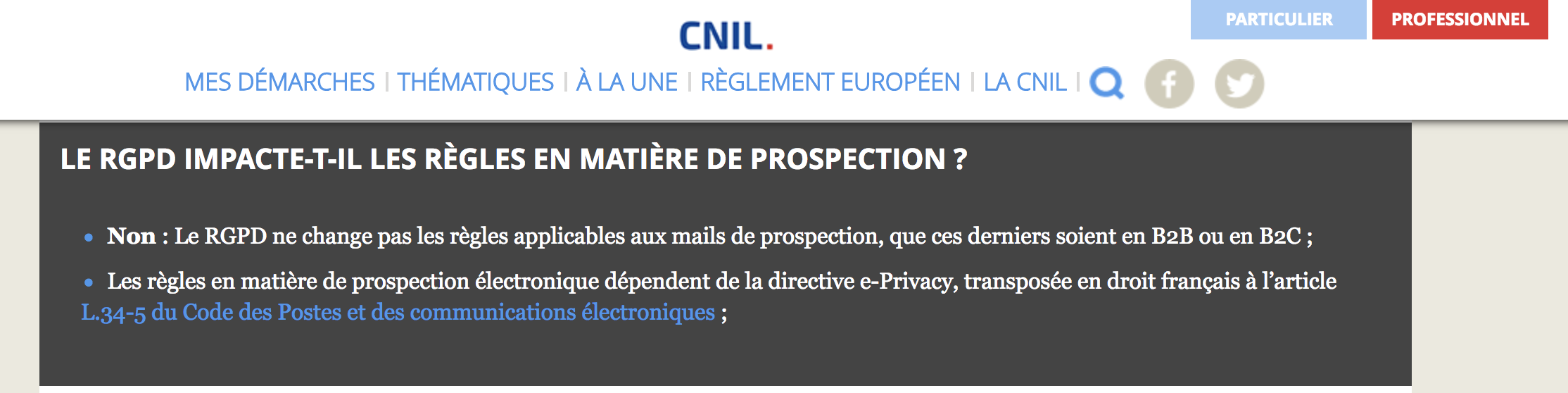 Landing Page of the CNIL