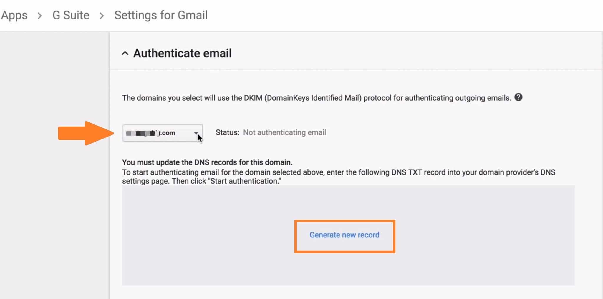 Generate DKIM G Suite