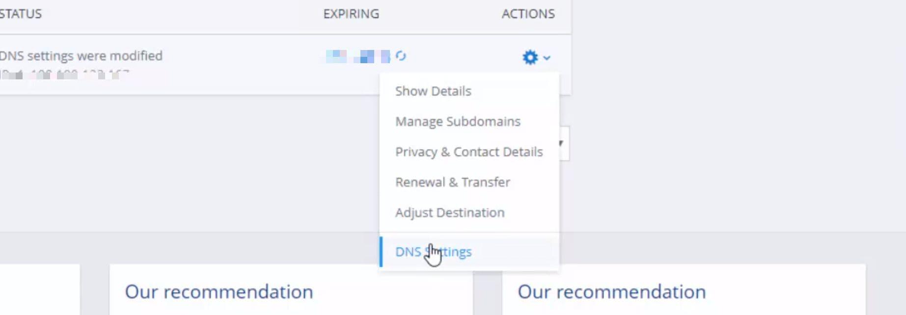 Ionos DNS management