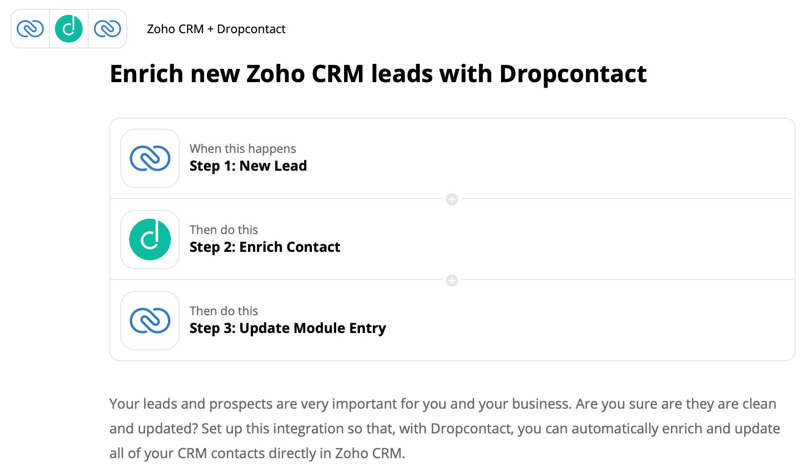 Integrate Dropcontact with Zoho CRM to enrich all new leads