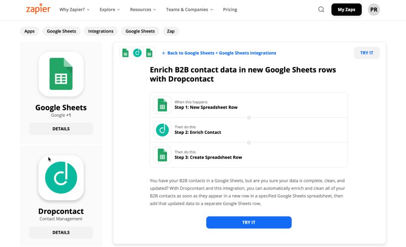Zapier workflow: Enrich your B2B contacts (including emails) directly in Google Sheet