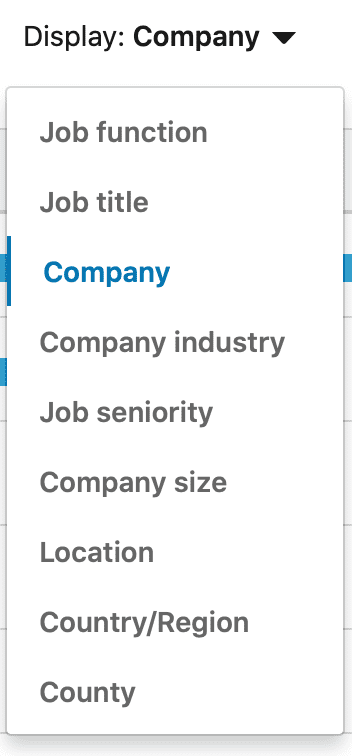 linkedin Campaign: choose company