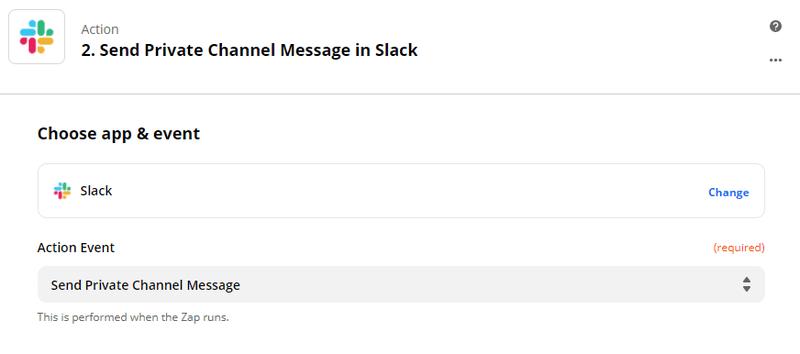 Zapier - Connect Slack to send a personalized private message
