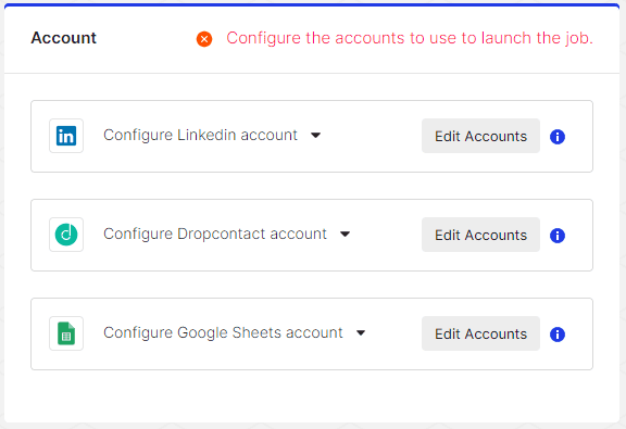 Connect your LinkedIn, Dropcontact and Google Sheets accounts