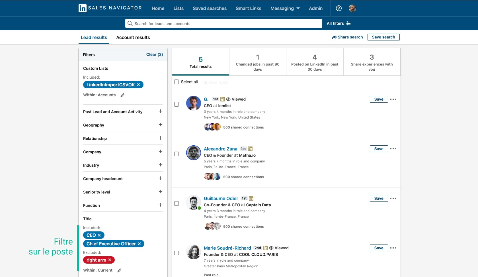 filtre sur son import d'entreprises sur Linkedin Sales Navigator