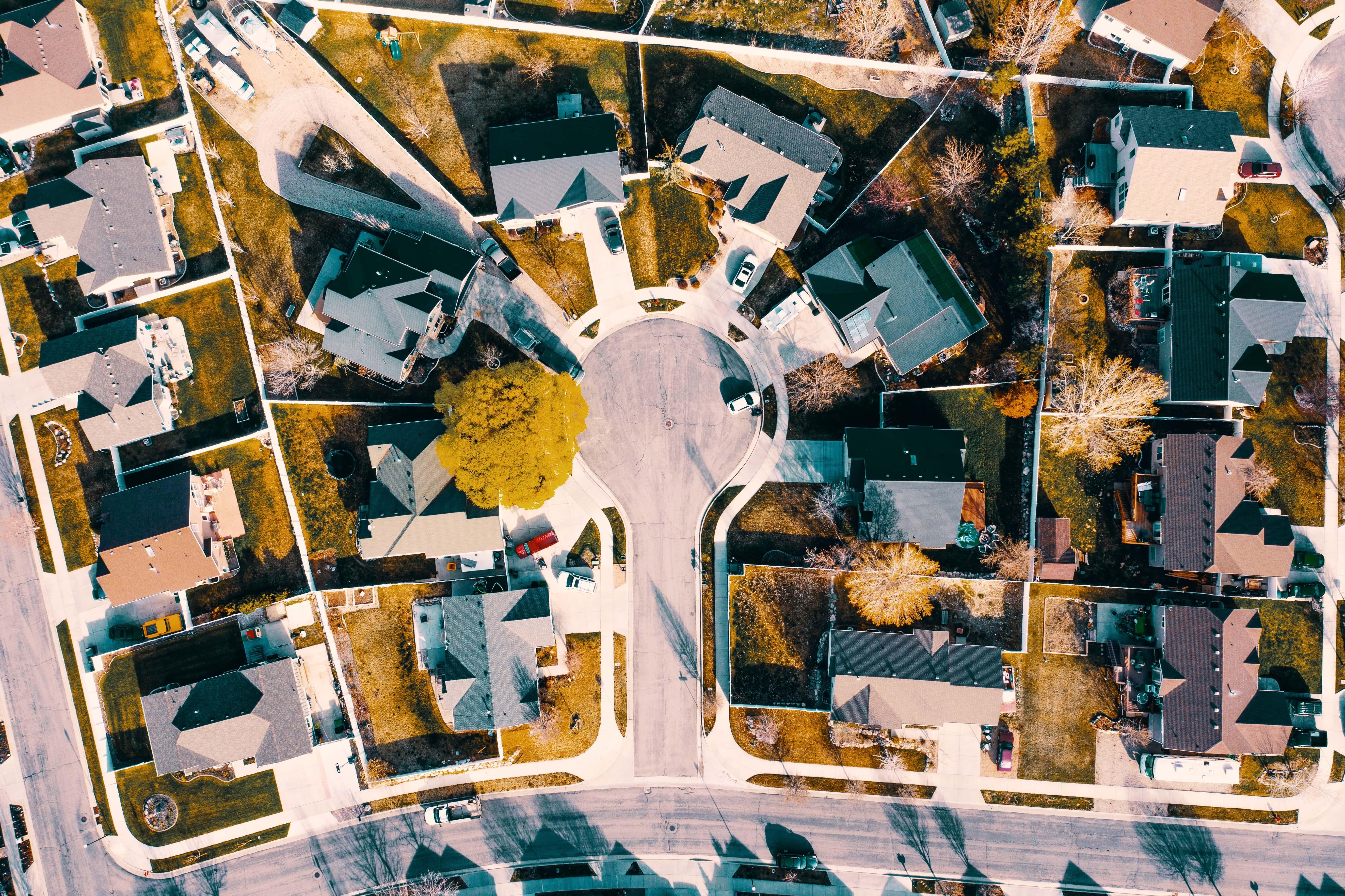 bird's eye view of a suburban roundabout
