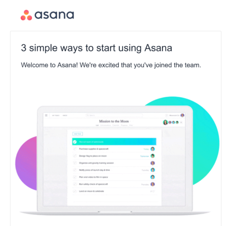 Asana Post Purchase Email