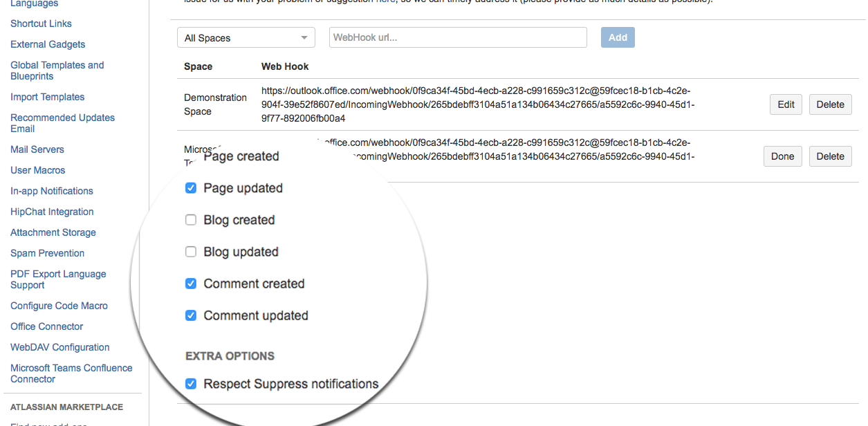 Fine grained notifications about Confluence activities