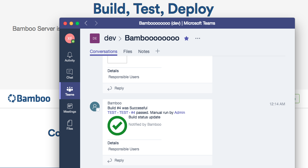 Receive build, job and deployment notifications