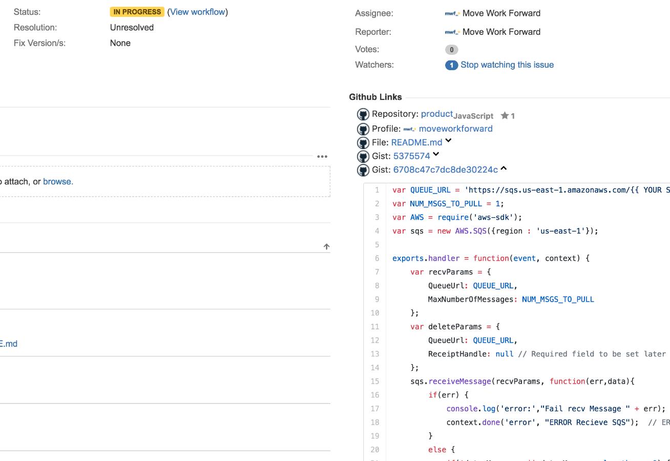 Display Github links inside Jira issue view