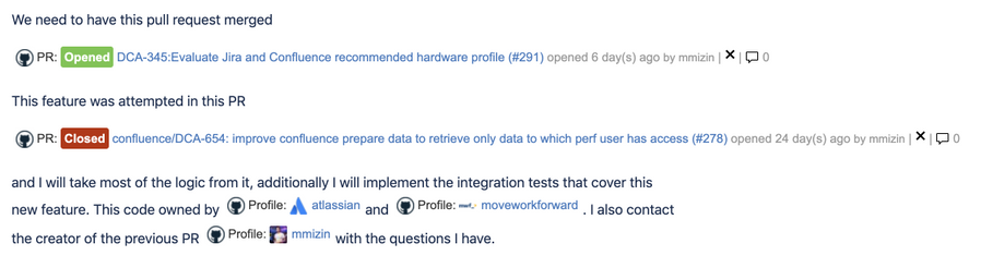 Confluence GitHub integration for pull requests and user profiles