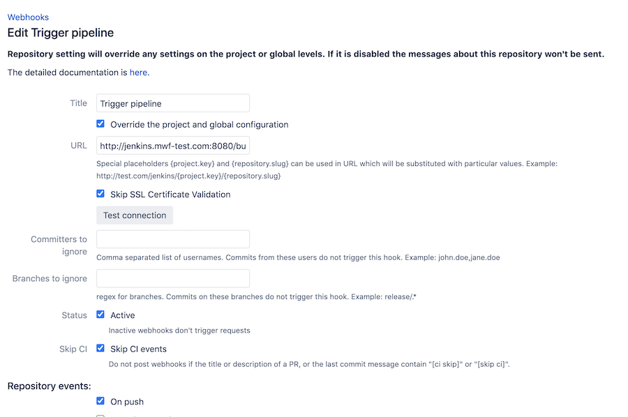 Jenkins Bitbucket integration setup in Bitbucket Server step 1