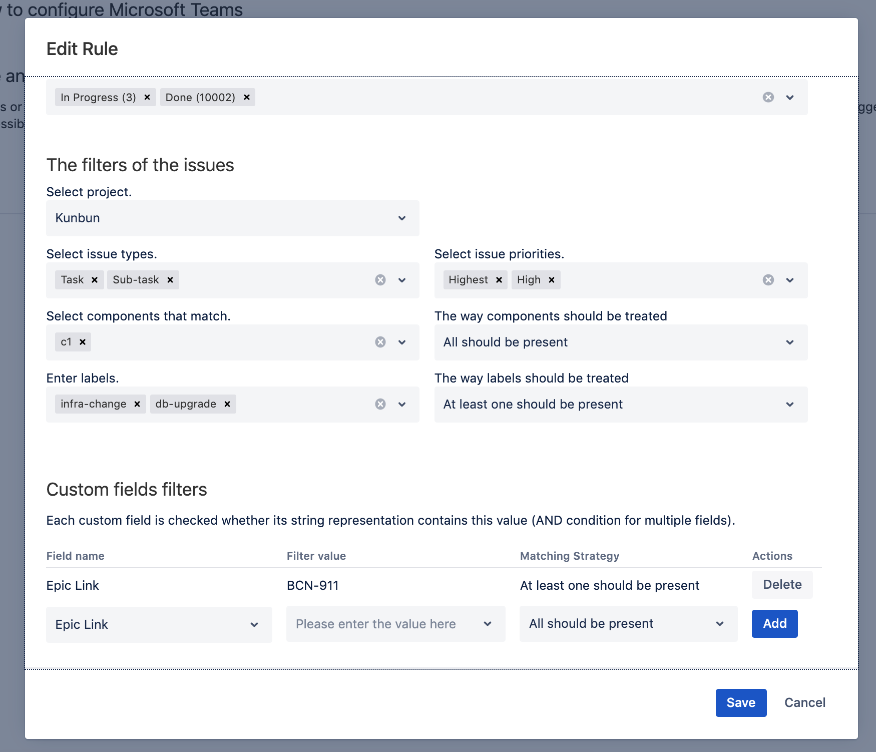 Fine grained notifications about Jira activities