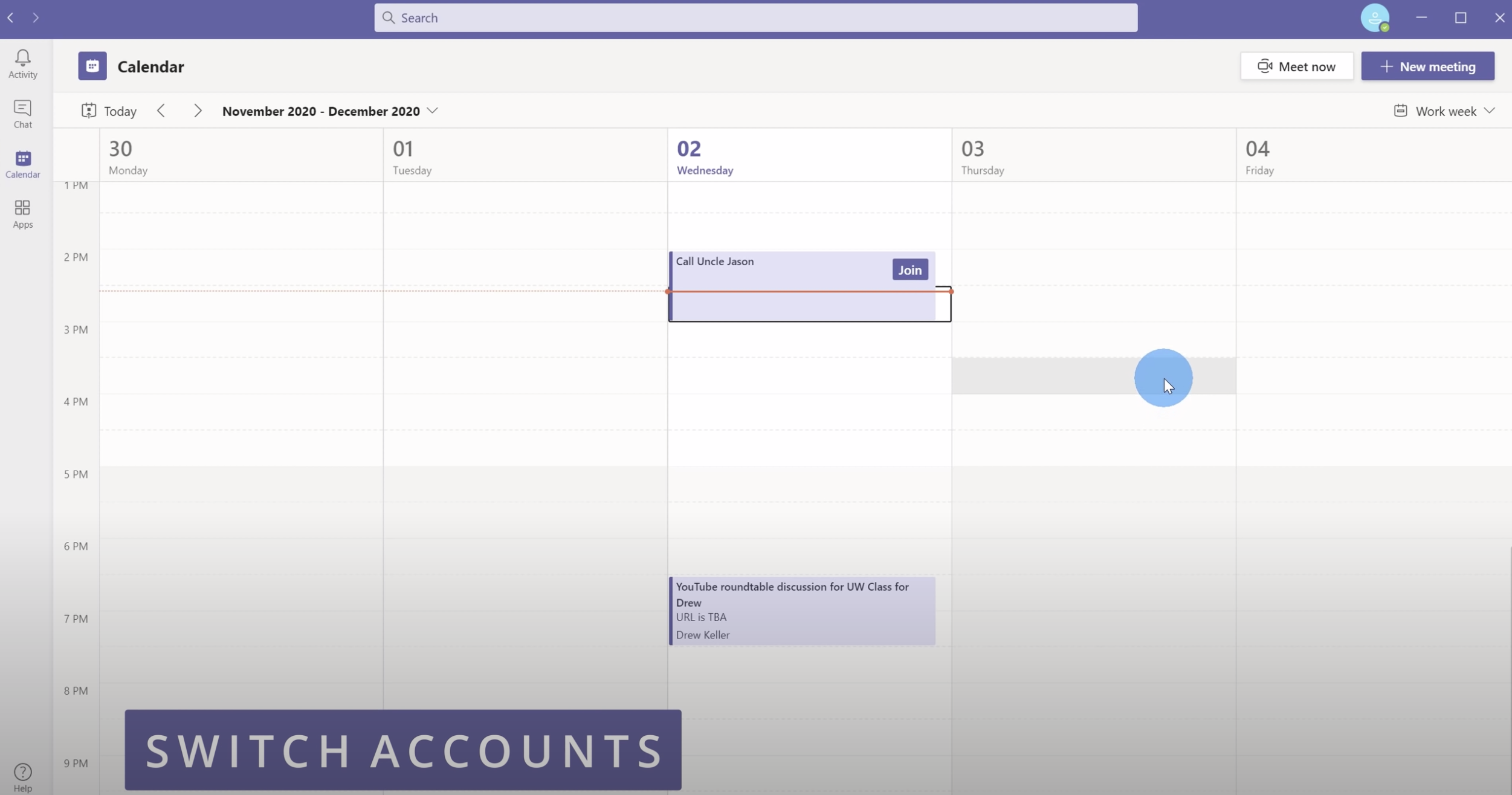 Switch between work and personal accounts