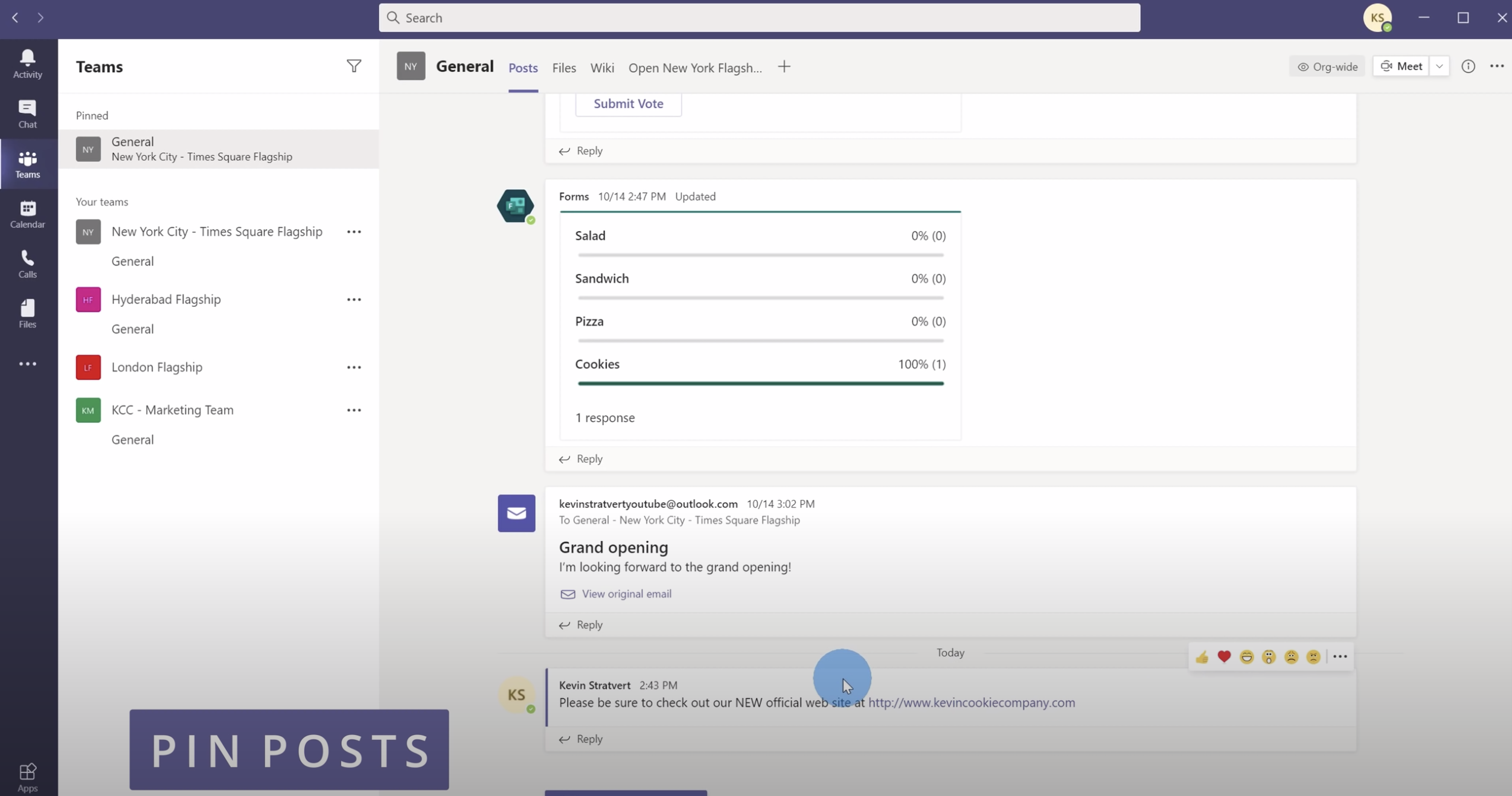 Pin a post in Microsoft Teams