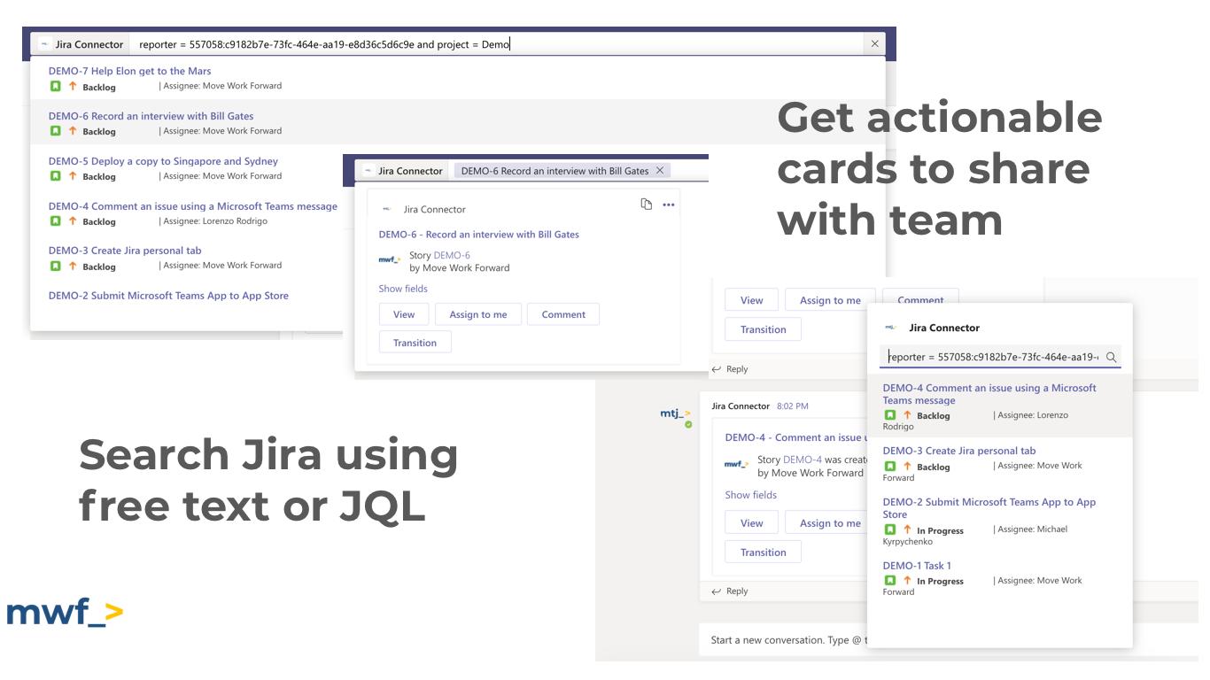 Microsoft Teams Jira Connector