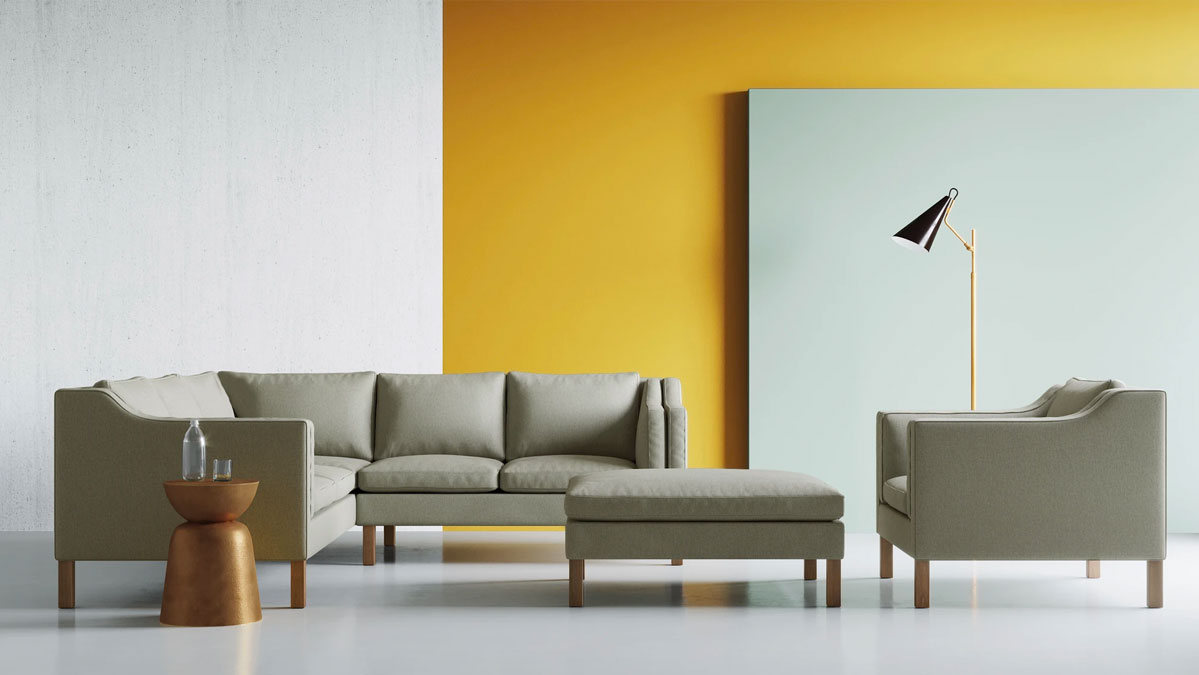 Up-Town Sectional, Chair and Ottoman by BenchMade Modern