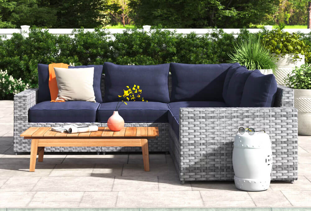 Wide Outdoor Wicker Symmetrical Patio Sectional with Cushions