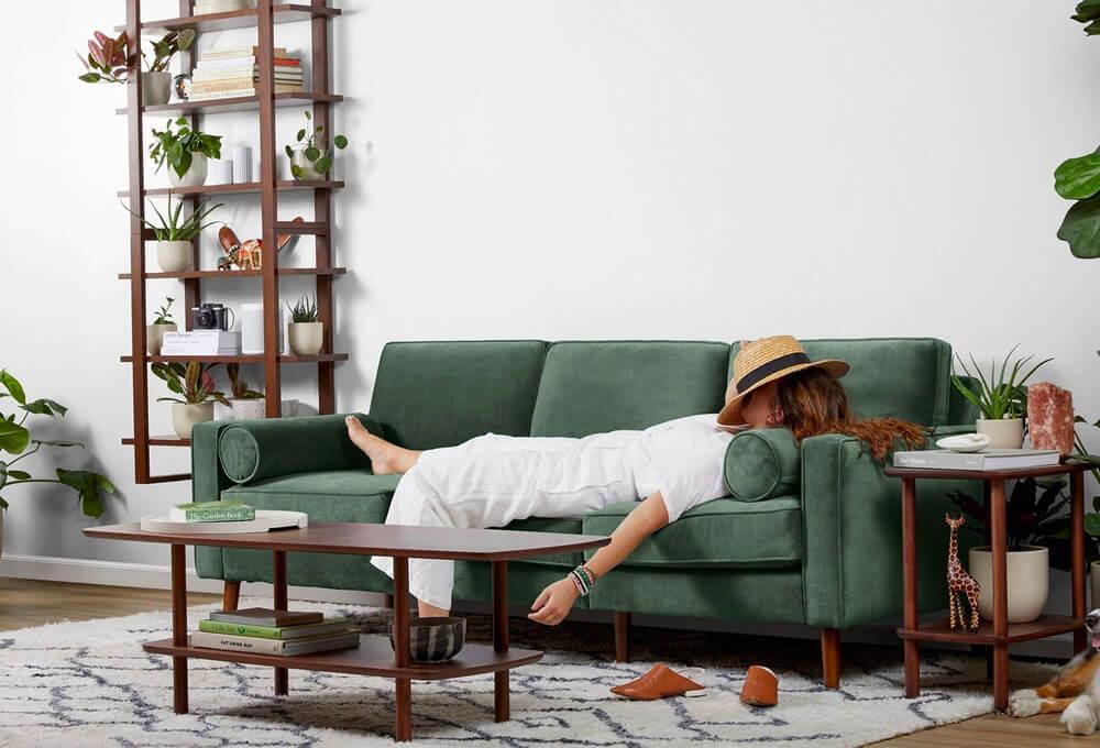 Nomad Green Velvet Sofa