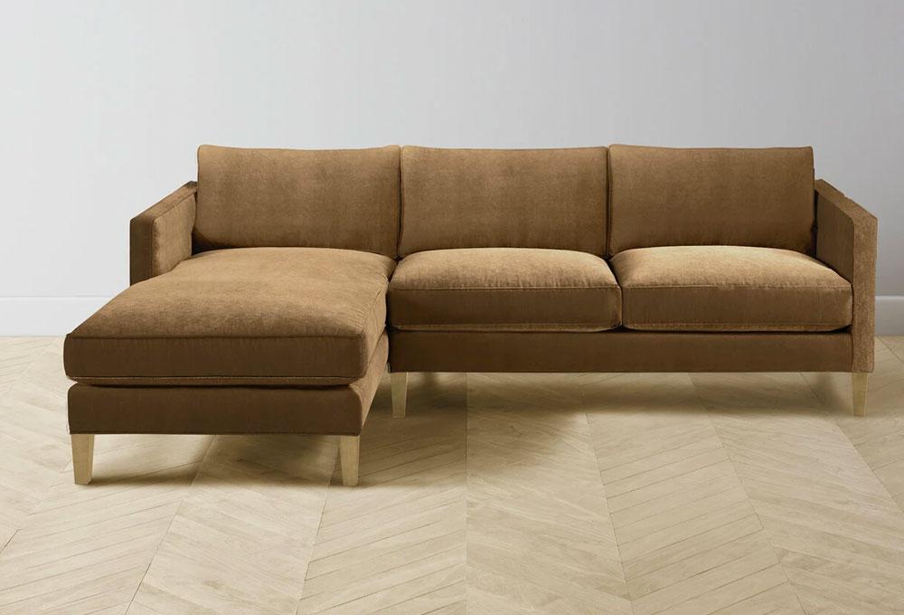 The Crosby Velvet Sectional Sofa in Cider