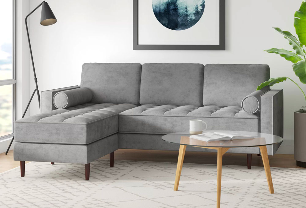 Kasey 84'' Reversible Stationary Sofa & Chaise Sectional