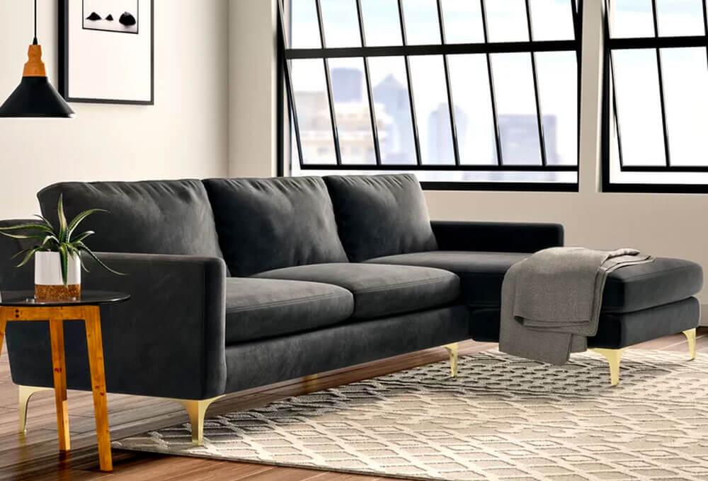 Jasper 119'' Velvet Stationary Sofa & Chaise Sectional