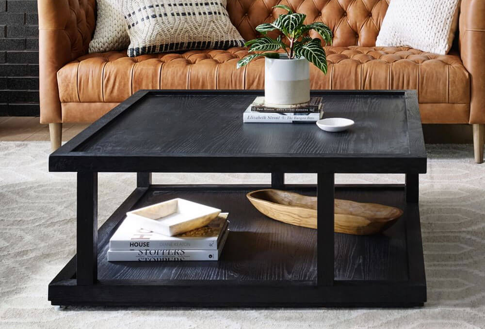 """Modern 40"""" Square Coffee Table"""