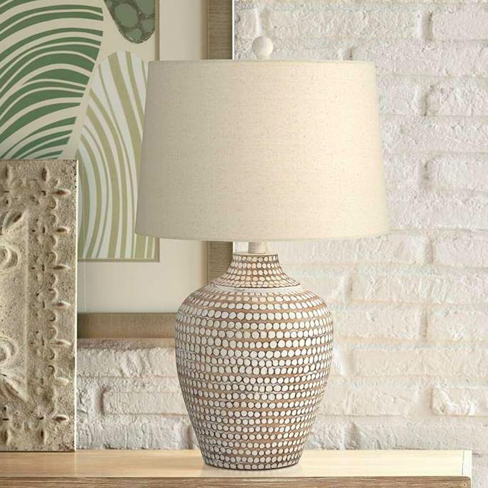 Alese Neutral Earth Polka Dot Jug Table Lamp
