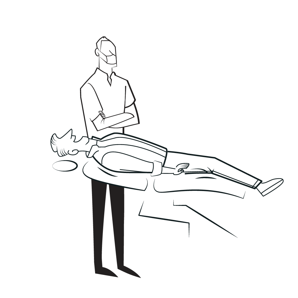 Graphic of dentist with patient in dental chair.